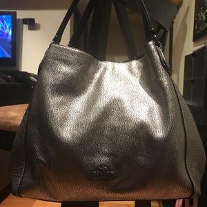 👛⭐️⭐️⭐️ COACH Gunmetal Metallic Leather Edie 31